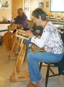 Salt Spring Island Weavers and Spinners Guild spinning workshop.